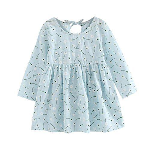 Dreamyth New Baby Girls Long Sleeve Solid Tutu Princess Casual Toddler Kids Dress