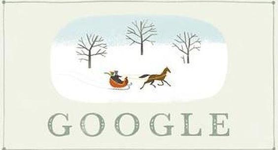 Google escribe Felices Fiestas con una bucólica postal navideña. Ideal