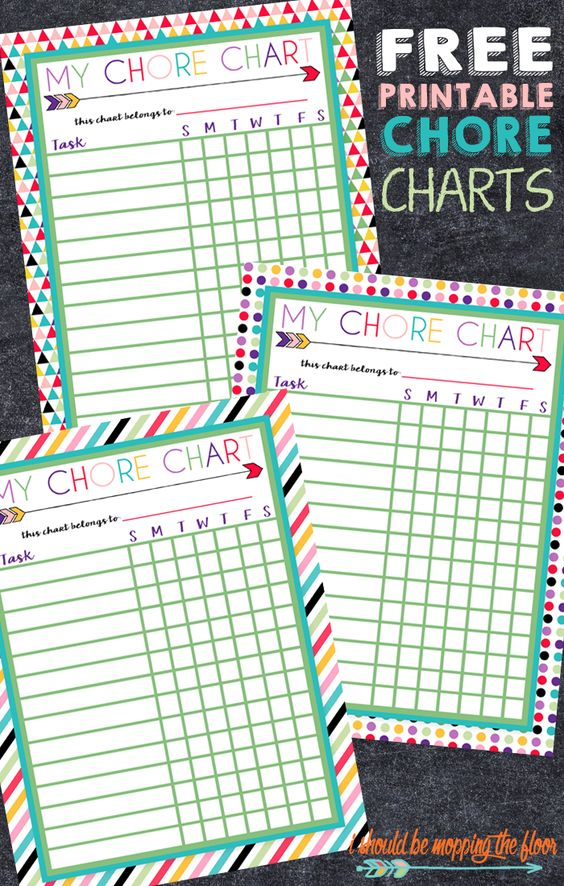Free Printable Chore Charts for Kids: Three Designs | Perfect to laminate and use with dry erase for a super simple chore system.