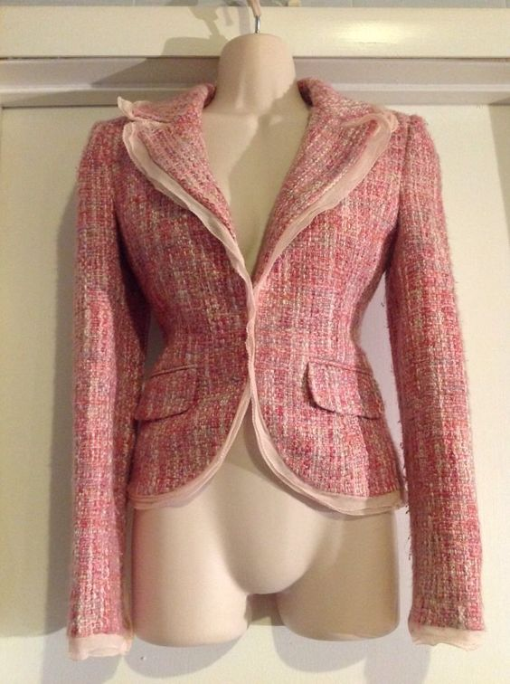 **GUESS - PINK 'TWEED' JACKET -  XS**