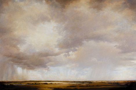 """Rains of Light, 2010, Victoria Adams, oil on linen, 80 x 120 in., Puget Sound, Washington, USA. """"My paintings of the landscape, offering panoramic views of sky and land, follow in the western European landscape tradition, as expressed by early Dutch, then English and French, and eventually American Luminist and Hudson River School painters."""""""