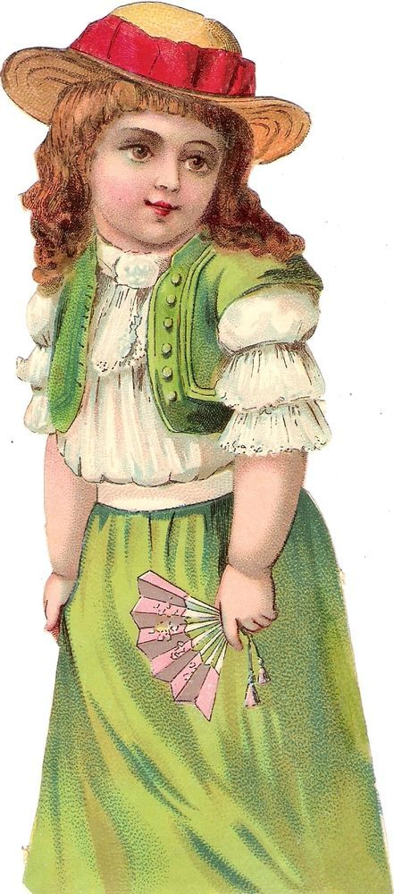 Oblaten Glanzbild scrap die cut chromo Kind  17cm  child girl lady fan Fächer: