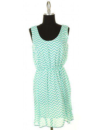 Peppermint Cream Chevron Dress