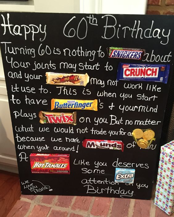 Old age Over the hill 60th birthday card poster using candy bars.  Candy bar card
