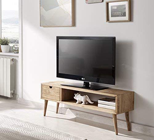 Hogar24 Es Mesa Televisión Mueble Tv Salón Diseño Vintage Cajón Y Estante Madera Maciza Natural Fabricación Art Living Room Cabinets Tv Furniture Furniture