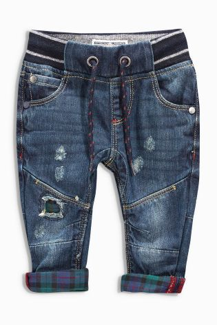 Buy Denim Dk Blue Contrast Check Distressed Jeans (3mths-6yrs) online today at Next: United States of America