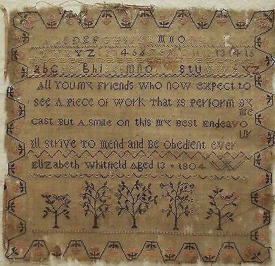 EARLY 19TH CENTURY SILK WORK SAMPLER BY ELIZABETH WHITFIELD 1804 (12/15/2013)