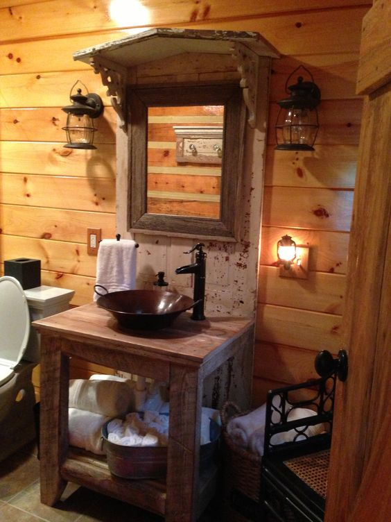 Love this sink in our vacation cabin!
