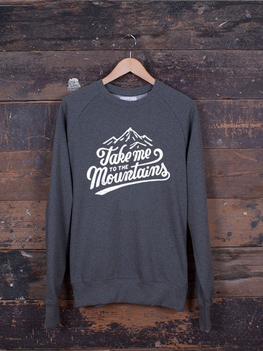 Take Me To The Mountains graphic jumper hand screen-printed and finished in Sheffield, ethically-made 100% organic cotton jumpers