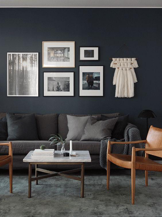 The Most Popular Interior Design Trends On Pinterest Right Now Dark Grey Living Room Grey Couch Living Room Grey Carpet Living Room