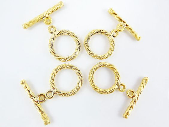 4 Sets of Mini Twisted Rope Detail T Bar Toggle by LylaSupplies, $4.90