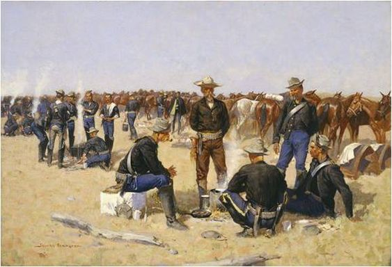 Frederic Remington, A Cavalryman's Breakfast on the Plains, ca. 1892, Amon Carter Museum, Frederic Remington Art Lessons