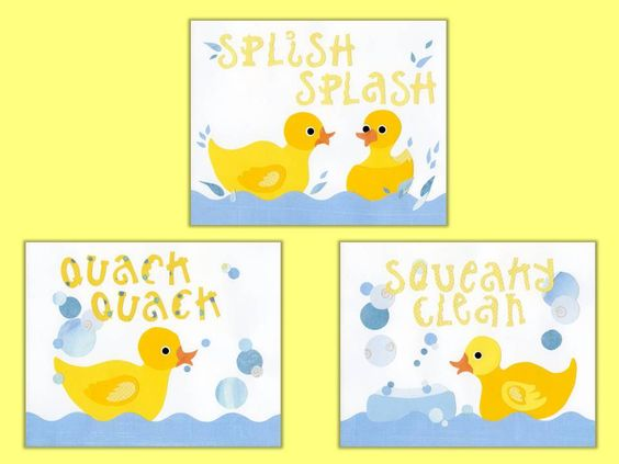 Childrens room decor kid wall art and ducks on pinterest for Rubber ducky bathroom ideas