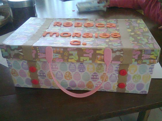 Una caja de zapatos forrada con papel para scrapbook - Como forrar una caja con tela ...