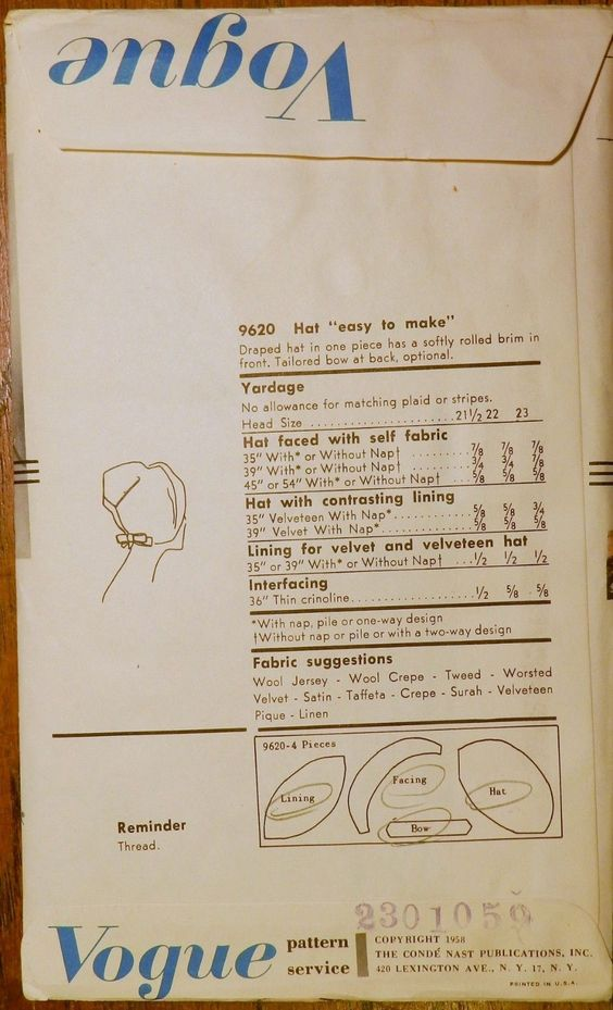 "Vtg 1950s John Frederics Vogue 9620 Sewing Millinery Pattern Draped Hat 22"" (back of envelope)"