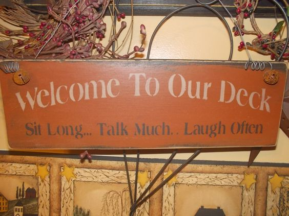 Primitive Wood Signs | Primitive wood sign/welcome to my deck/ sayings/outside deck sign