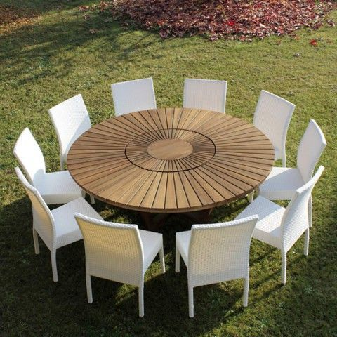 Runder Tisch Mit Drehplatte Aus Teak Und Massivholz Fur Innen Und