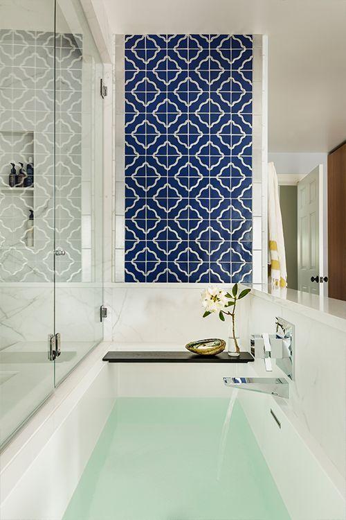 30 Creative Bathroom Tile Ideas You Ll Be Tempted To Try In 2020 Blue Bathroom Tile Unique Bathroom Tiles Bathroom Interior Design