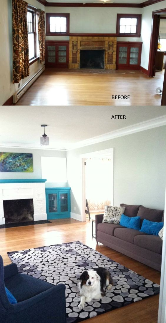Before and after- Craftsman style living room- budget update