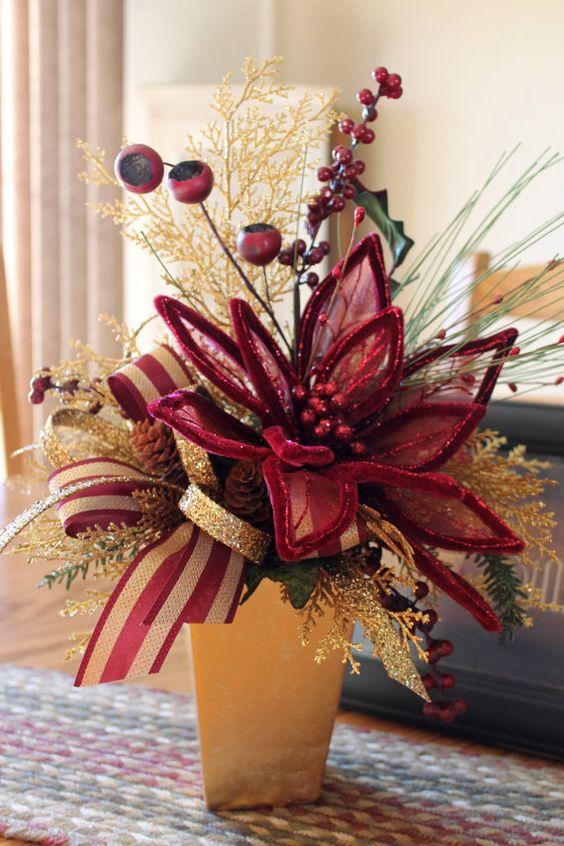 Christmas centerpiece burgundy poinsettia gold by