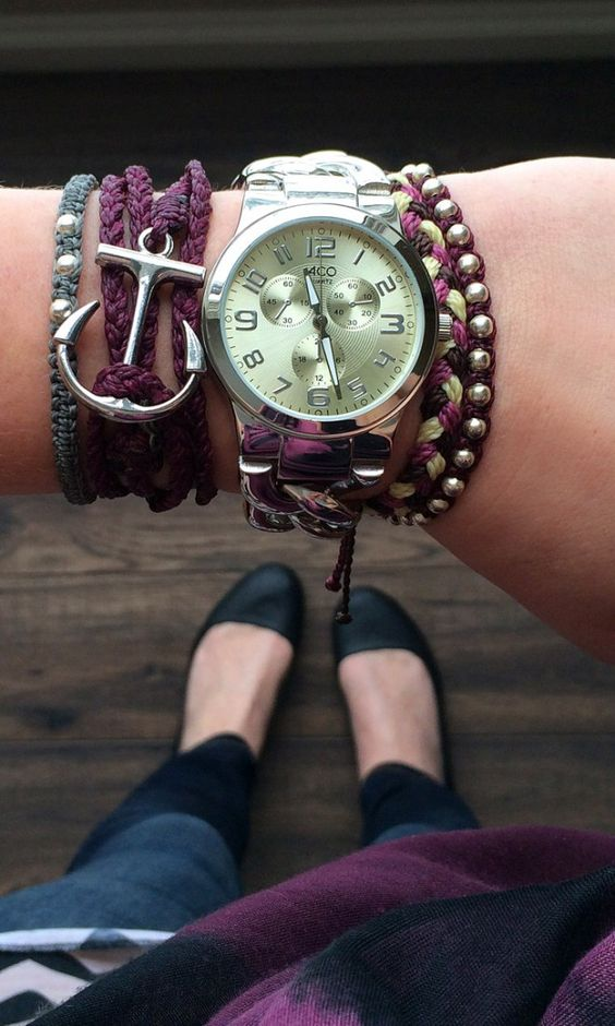 Purple Bracelets and Accessories. Love this anchor wrap from Pura Vida Bracelets!: