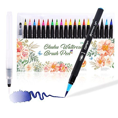 Watercolor Brush Markers Pen Ohuhu 20 Colors Water Based Drawing