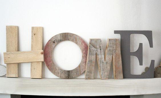 Decorazioni da parete - Scritta HOME con lettere in legno di recupero - un prodotto unico di NuvolediLegno su DaWanda