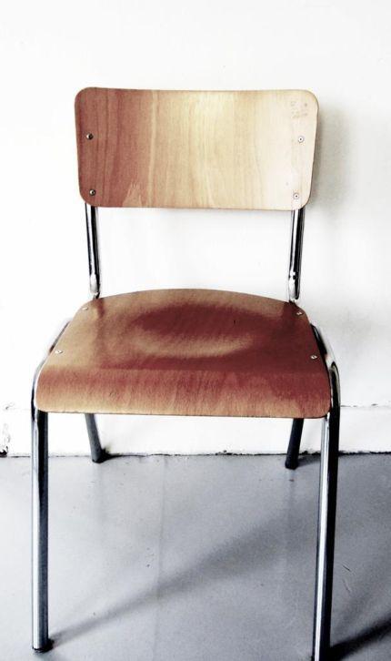 ... schoolstoel, hout met metaal, vintage - Huis en Inrichting - Stoelen