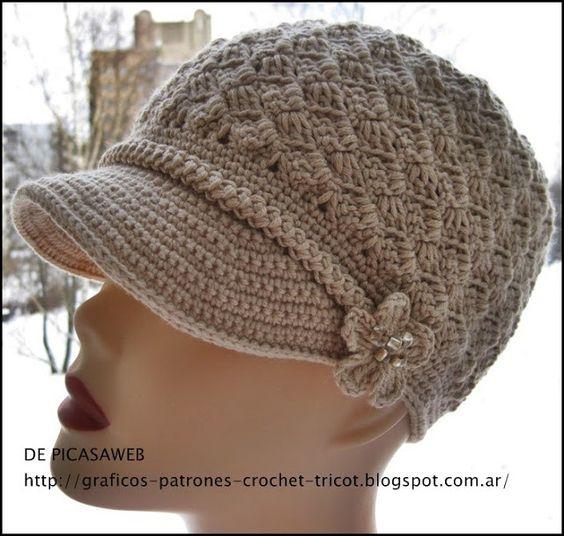 crochet fabric , CROCHET - GANCHILLO - PATRONES - GRAFICOS: GORRITO TEJIDO A GANCHILLO