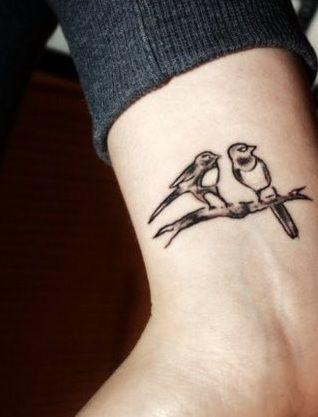 Birds on branch wrist tattoo - photo#12