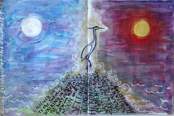 Solstice Night 1: Balanced on the Equinox Road to the Solstice, the Great Blue Heron, eternal, manifesting now