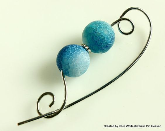 Shawl Pin, Scarf Pin, Brooch - Blue Crackle Glass Beads