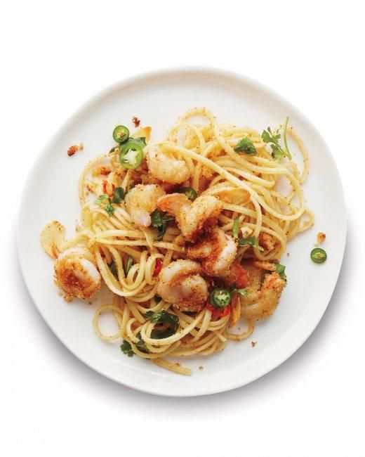 Garlicky Shrimp Pasta with Chiles Recipe