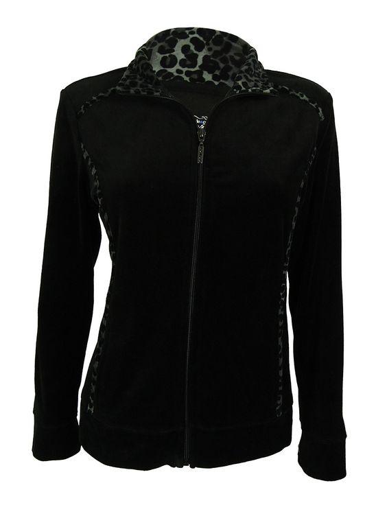 Style & Co. Women's Animal Print Velour Zip-Front Jacket