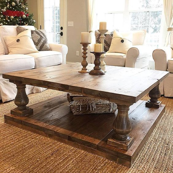 Large Square Rustic Baluster Wide Plank Coffee Table