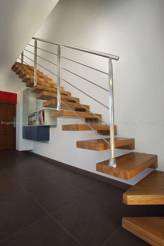 Scala a Sbalzo gradini in legno ringhiera inox 6 Scale per interni - elicoidali - chiocciola ...