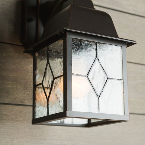 Shop Portfolio Litshire 13 5 In H Oil Rubbed Bronze Outdoor Wall Light At Lowes Com Outdoor Wall Lighting Wall Lights Light