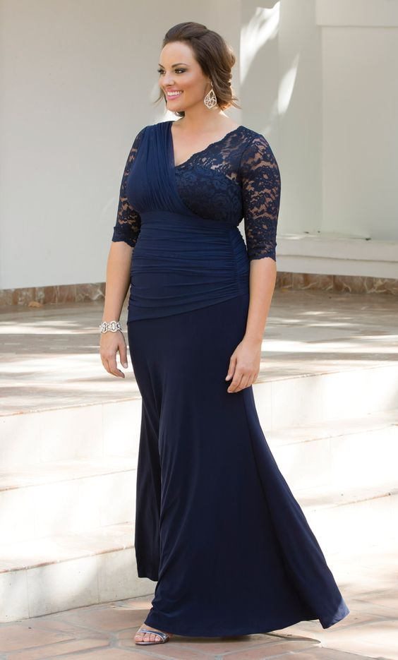 You'll be radiant as the Mother-of-the-Bride in our plus size Soiree Evening Gown. This stunning pullover gown is designed with an illusion one shoulder and has flattering ruching along the front that is met with a slight trumpet hem. Available in other colors. Made exclusively for women's plus sizes. Made in the USA. Shop our entire collection of plus size women's dresses at www.kiyonna.com. #plussizefashion #plussizedresses