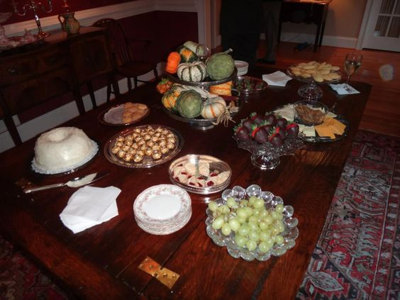 Lovely table of sweets and savories at a Fall 2012 Champagne & Chocolates-