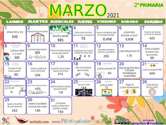 Calendario Segundo ABN – Marzo 2021