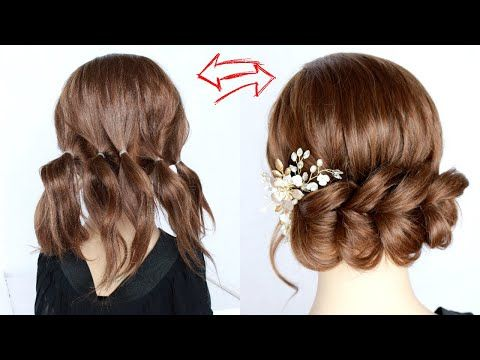 3 Minute Easy Updo With Ponytails For Short Hair How To Pull Through Braid By Another Braid Youtub In 2020 Short Hair Ponytail Short Hair Up Short Hair Styles