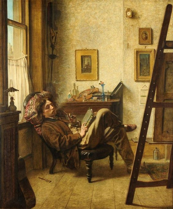 In the Studio, by Alfred Holst Tourrier (1836-1892)