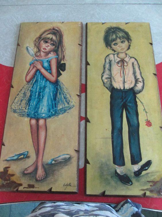 Vintage Big Eye Art Plaques by VintageVeneers on Etsy