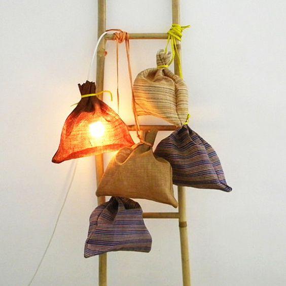 SAKO abaca sack lamp in violet stripes by 7100islands on Etsy
