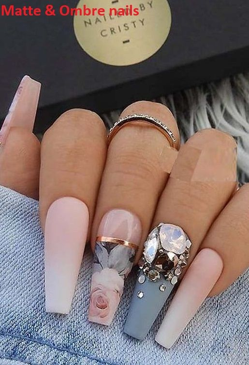 22 Matte French Ombre Blue Grey Crystals On Long Coffin Nails Coffin Nails Long Nails Coffin Nails Designs