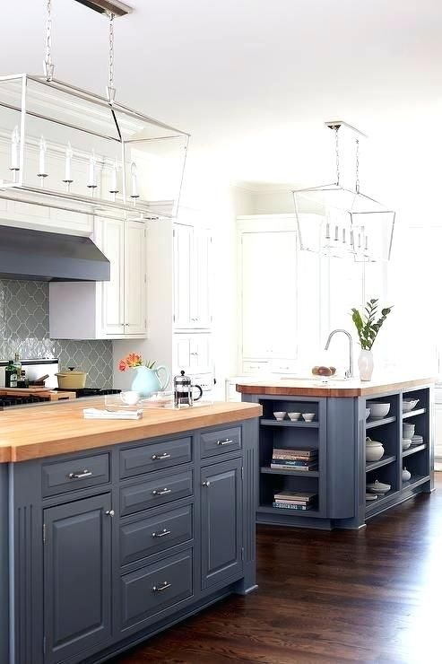 Light Grey Kitchen Cabinets With Butcher Block Countertops Blue