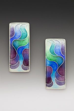 Earrings by Anna Tai   (Enamel and sterling and fine silver)