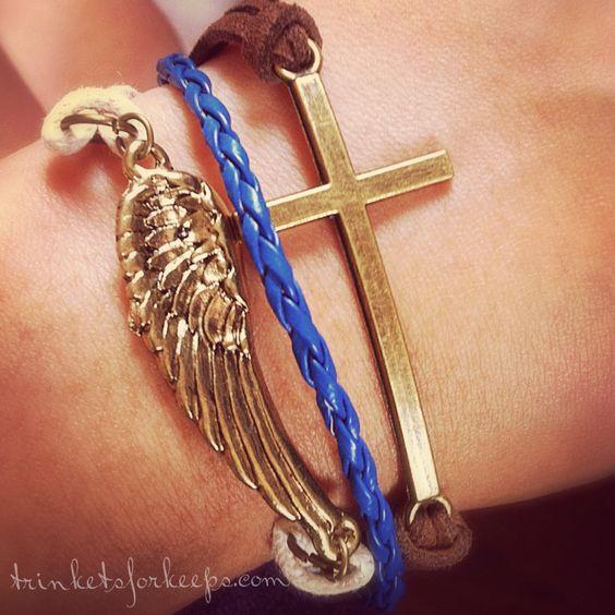 Wing and cross. cuff style bracelet {br-74} | Trinketsforkeeps