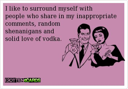 I like to surround myself with people who share in my inappropriate comments, random shenanigans and solid love of vodka.