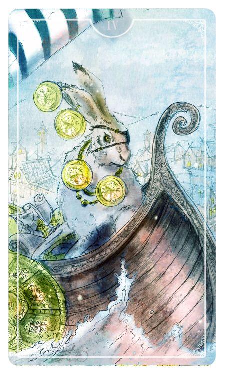 Four of coins - Ostara Tarot by Molly Applejohn